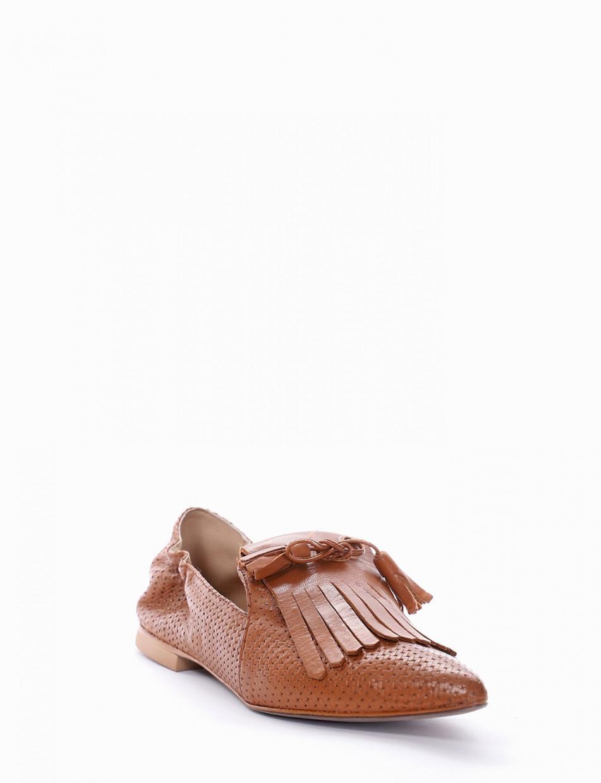 Loafers heel 1 cm dark brown leather