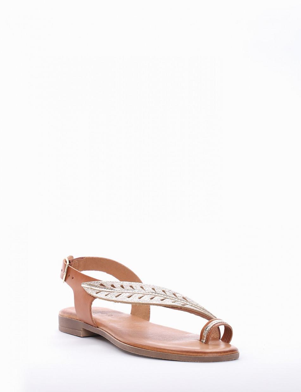 Flip flops heel 1 cm leather