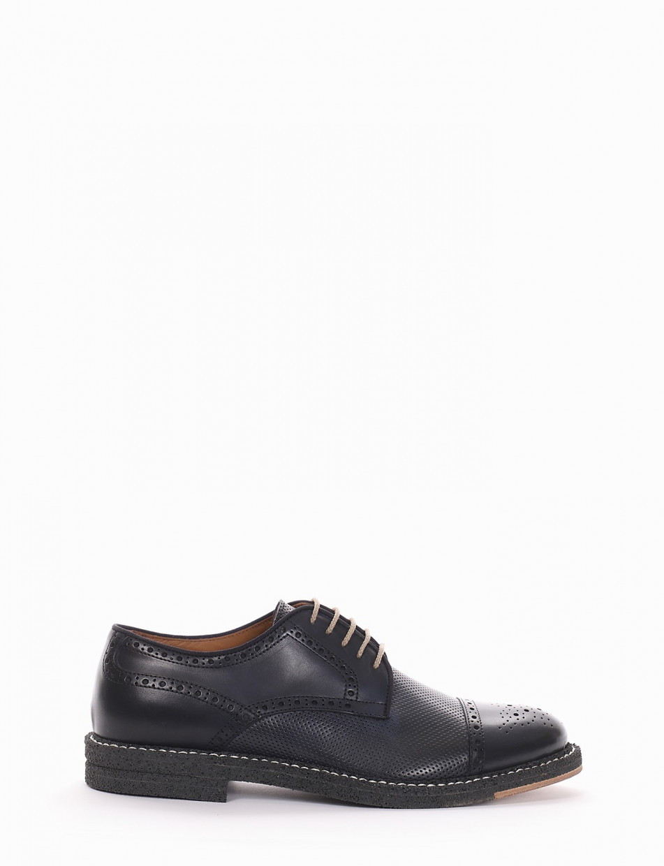 scarpa lacci tacco 2 cm blu