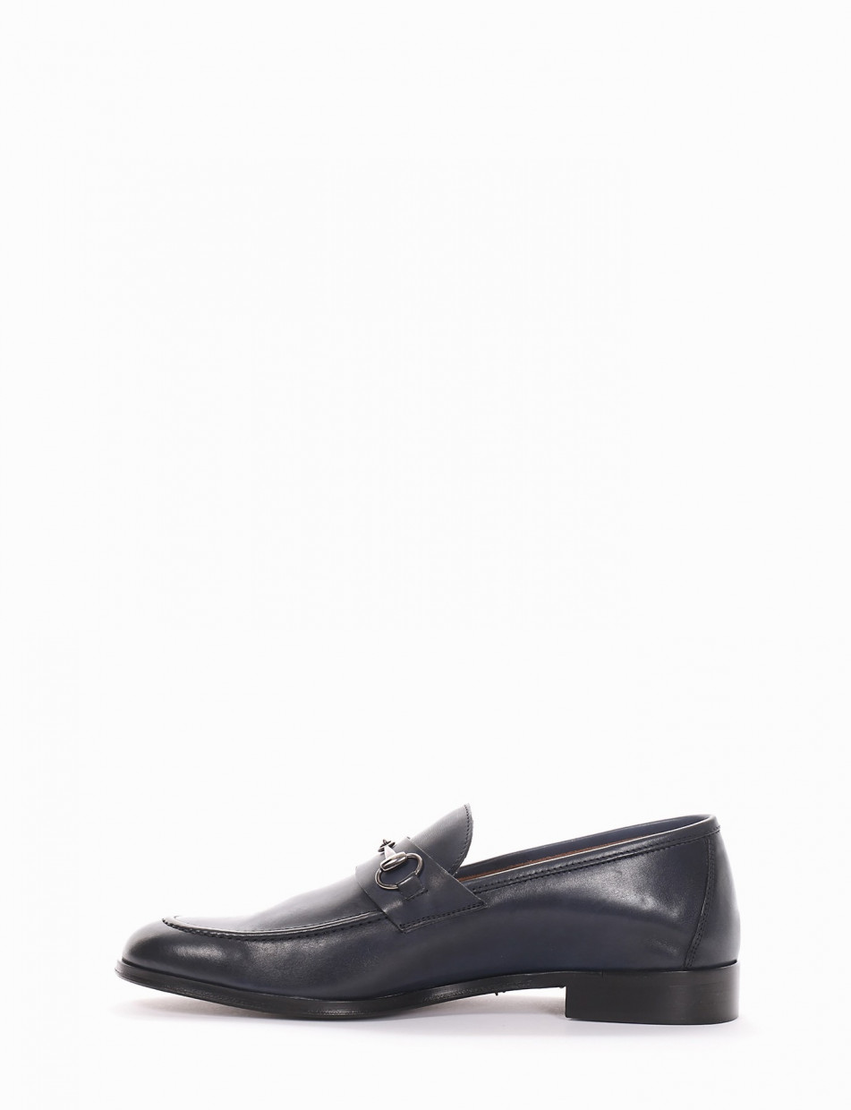 Loafers blu leather