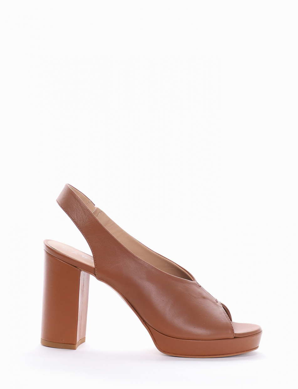 High heel sandals heel 8 cm leather