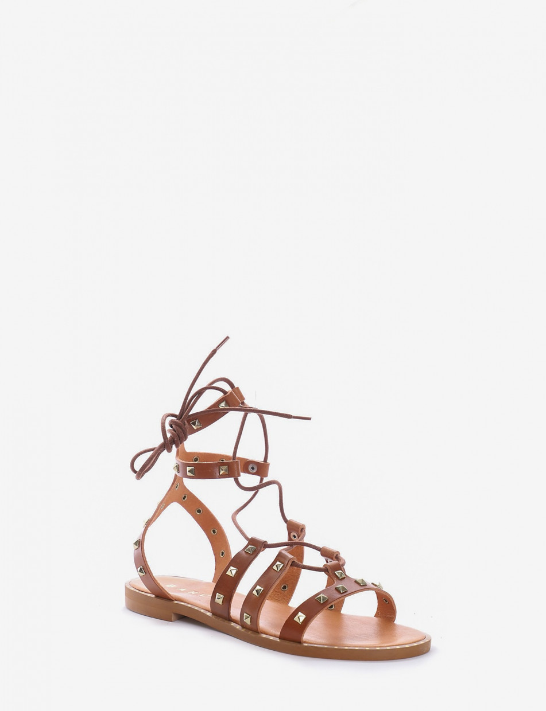 Sandalo tacco 1cm cuoio