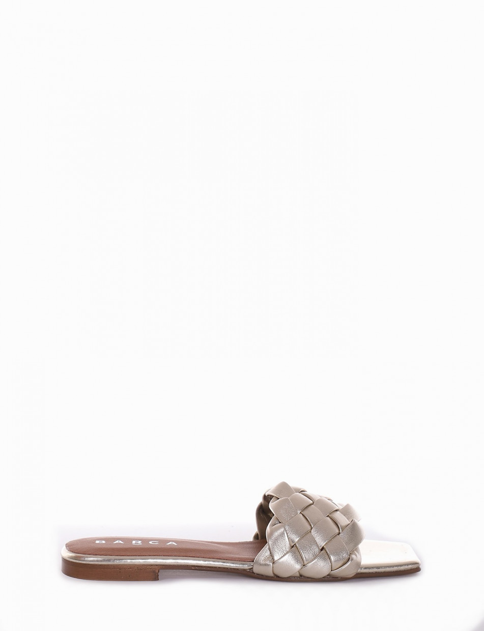 Slippers heel 1 cm gold leather