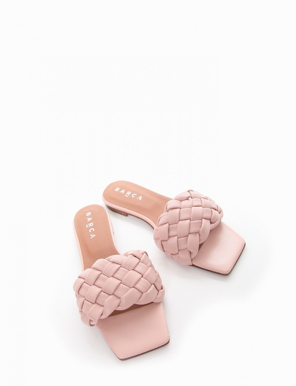 Slippers heel 1 cm pink leather
