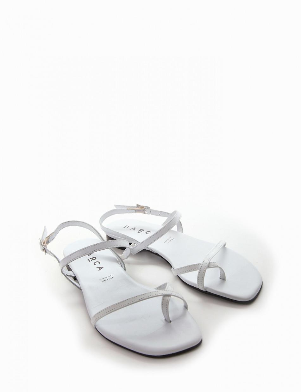 Flip flops heel 1 cm white leather