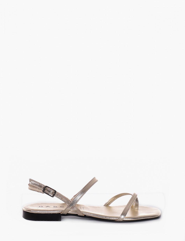 Flip flops heel 1 cm platinum leather