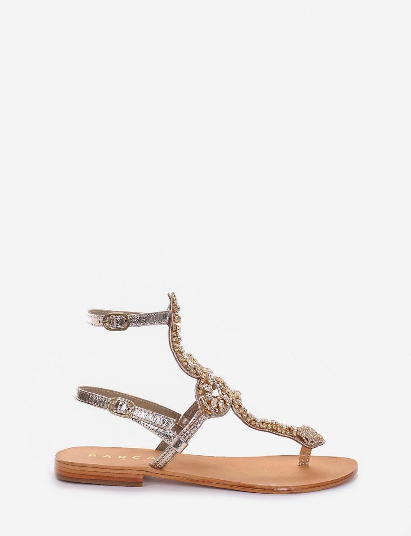 sandalo infradito tacco 1 cm oro