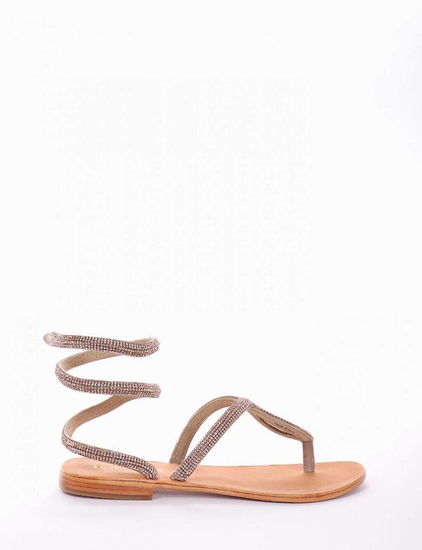 Flip flops heel 1 cm pink leather