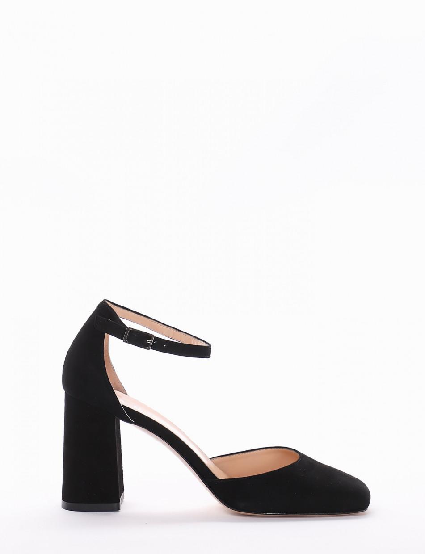 Pumps heel 7cm black chamois