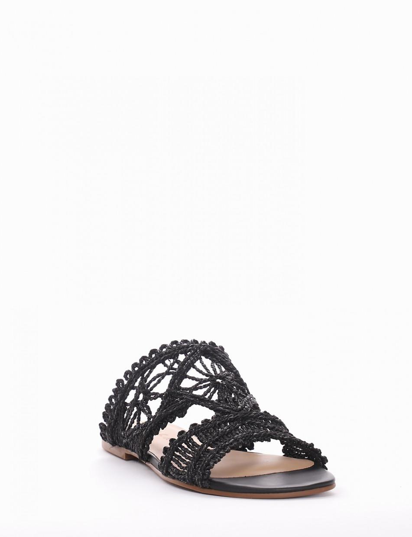 Slippers heel 1 cm black cotton