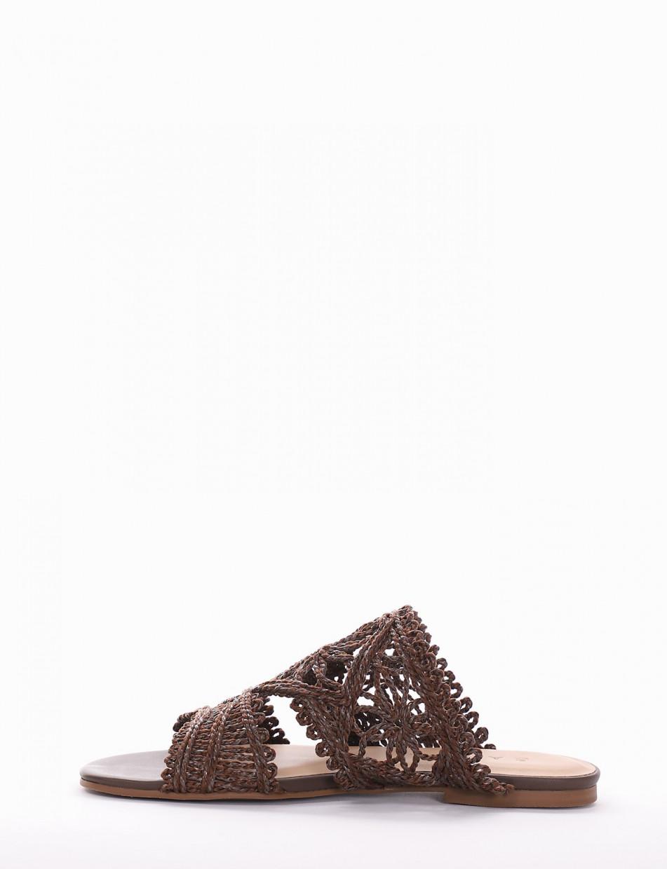 Slippers heel 1 cm dark brown cotton