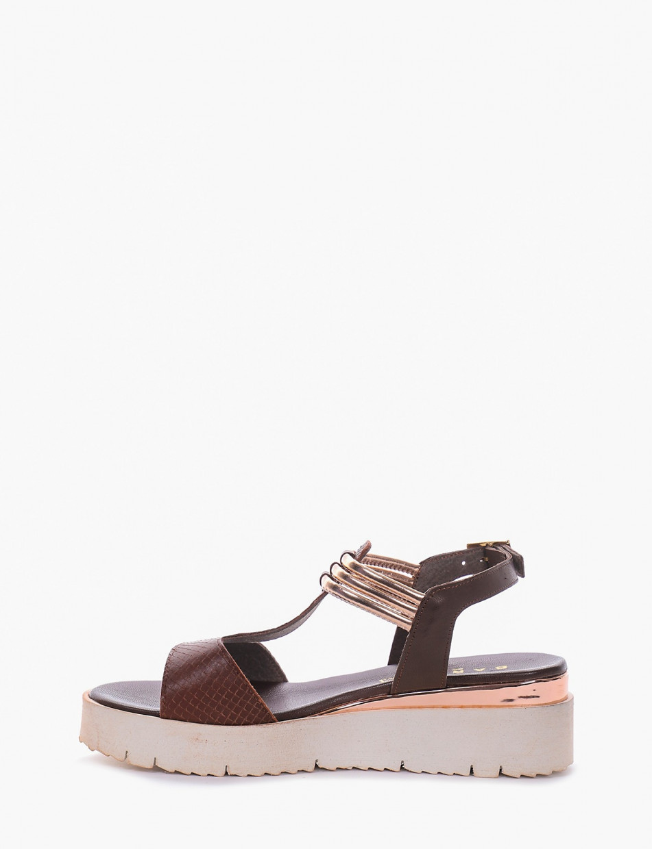 Sandalo tacco 1 cm bronzo