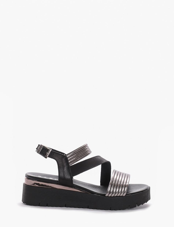 Wedge heels heel 5cm silver laminated