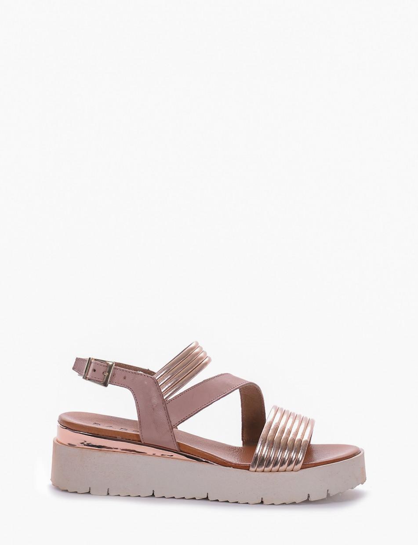 Wedge heels heel 5cm bronze laminated