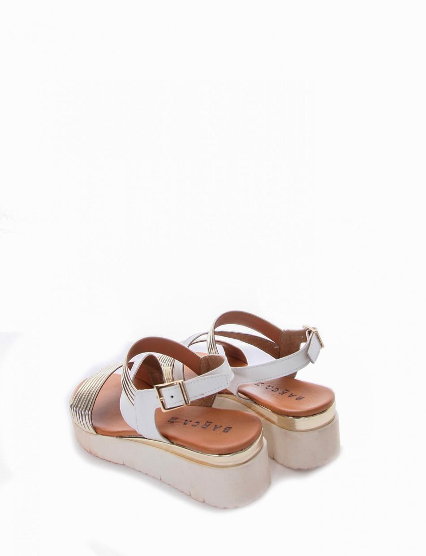 Sandalo zeppa tacco 5cm oro