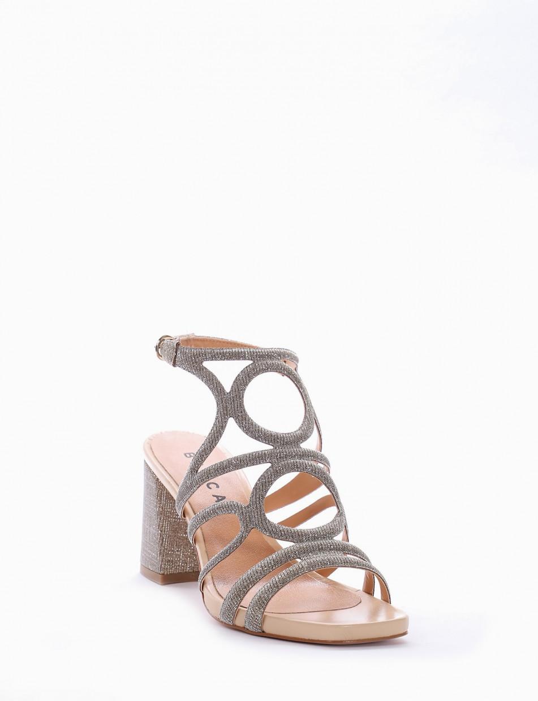 High heel sandals heel 8 cm platinum leather