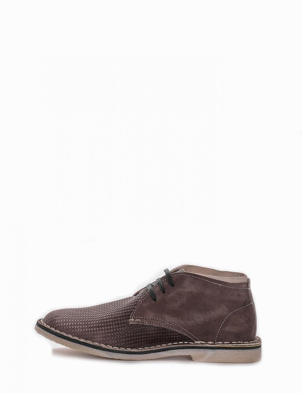 Desert boots heel 1 cm dark brown chamois