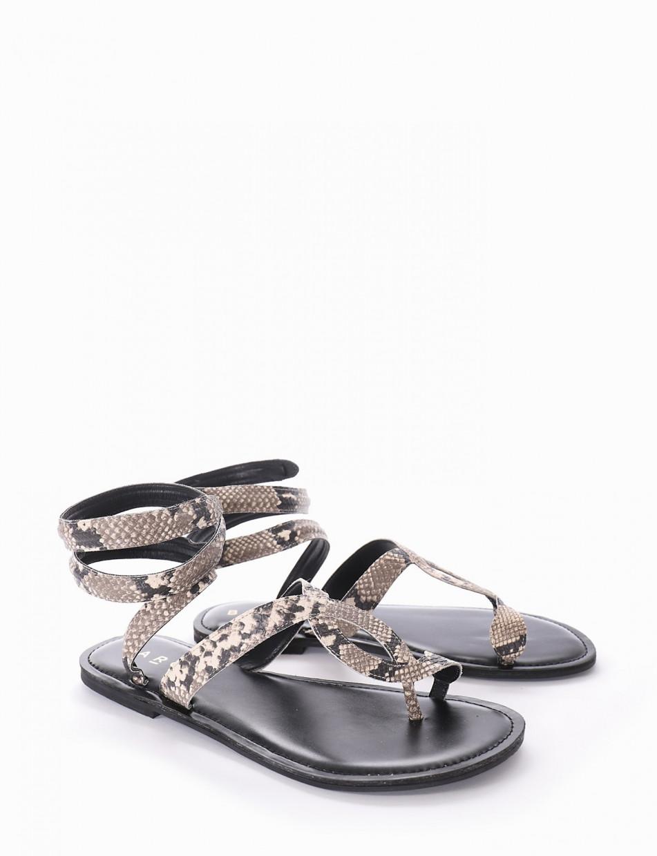 Low heel sandals heel 2 cm multicolor python