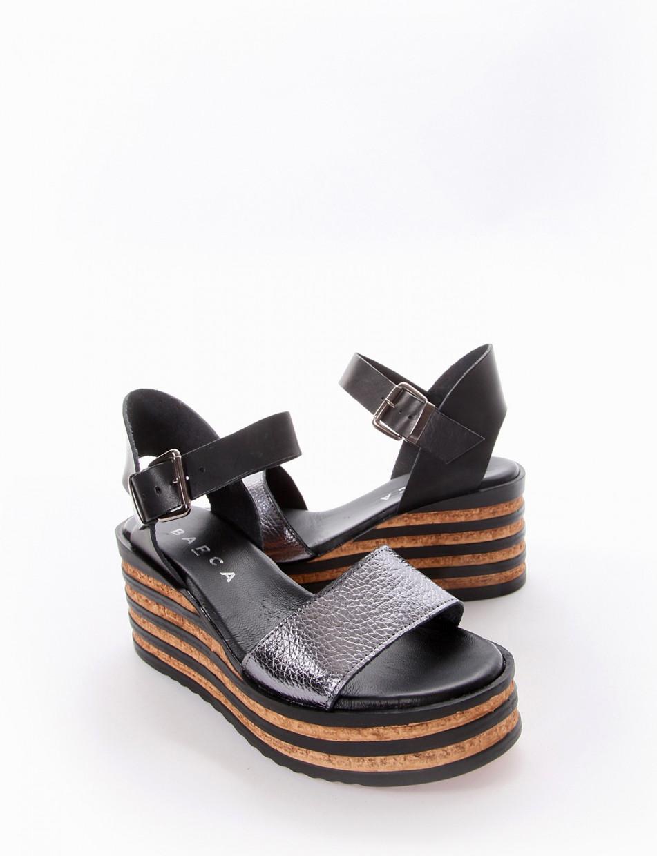 Wedge heels heel 5 cm black leather