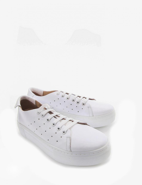 Sneakers fondo alto 3 cm bianco