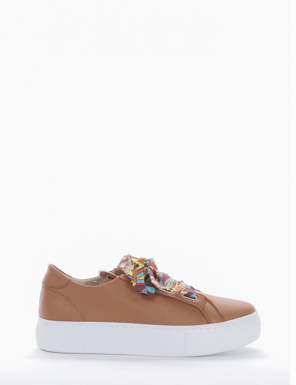 Sneakers heel 3 cm brown leather