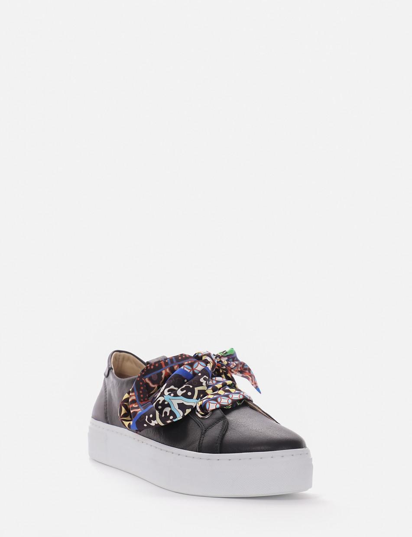 Sneakers fondo alto 3 cm nero