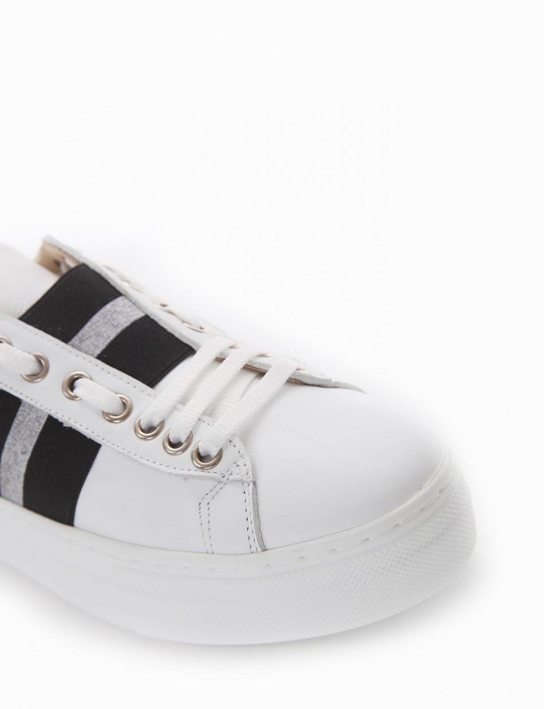 Sneakers heel 3 cm white leather