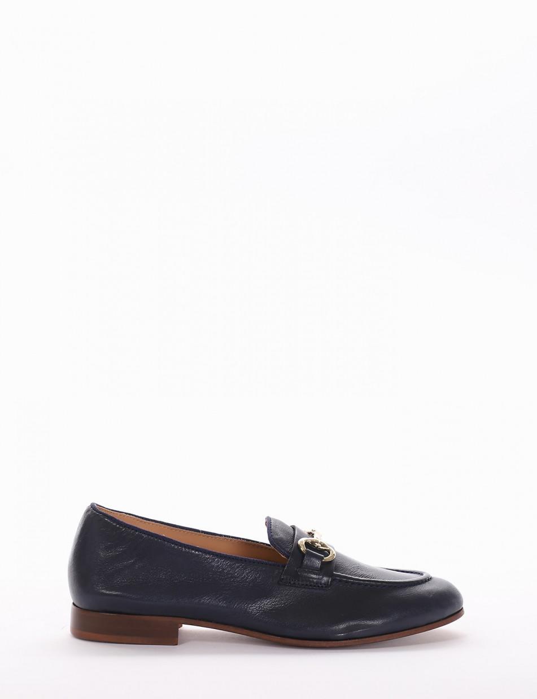 Loafers heel 2cm blu leather