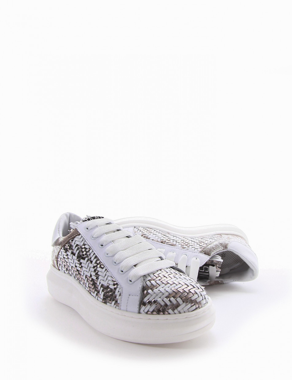 Sneakers heel 3 cm silver leather