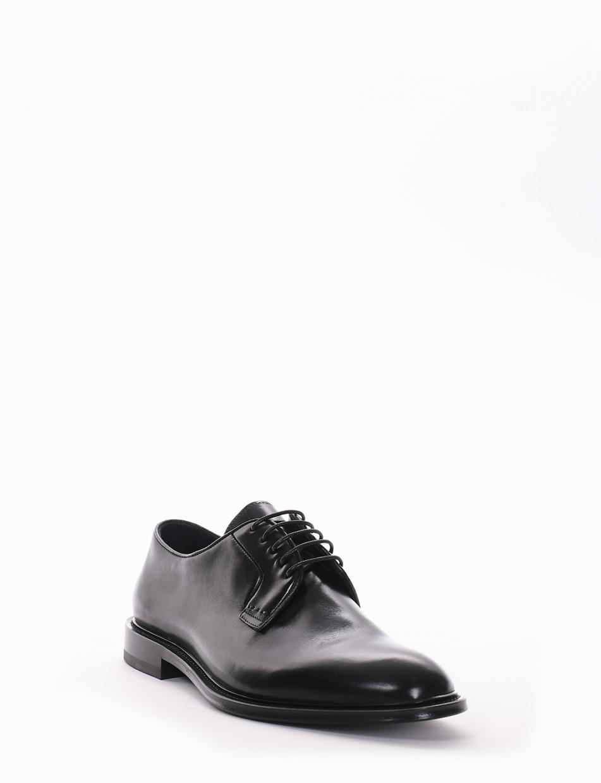 Lace-up shoes heel 1 cm black leather