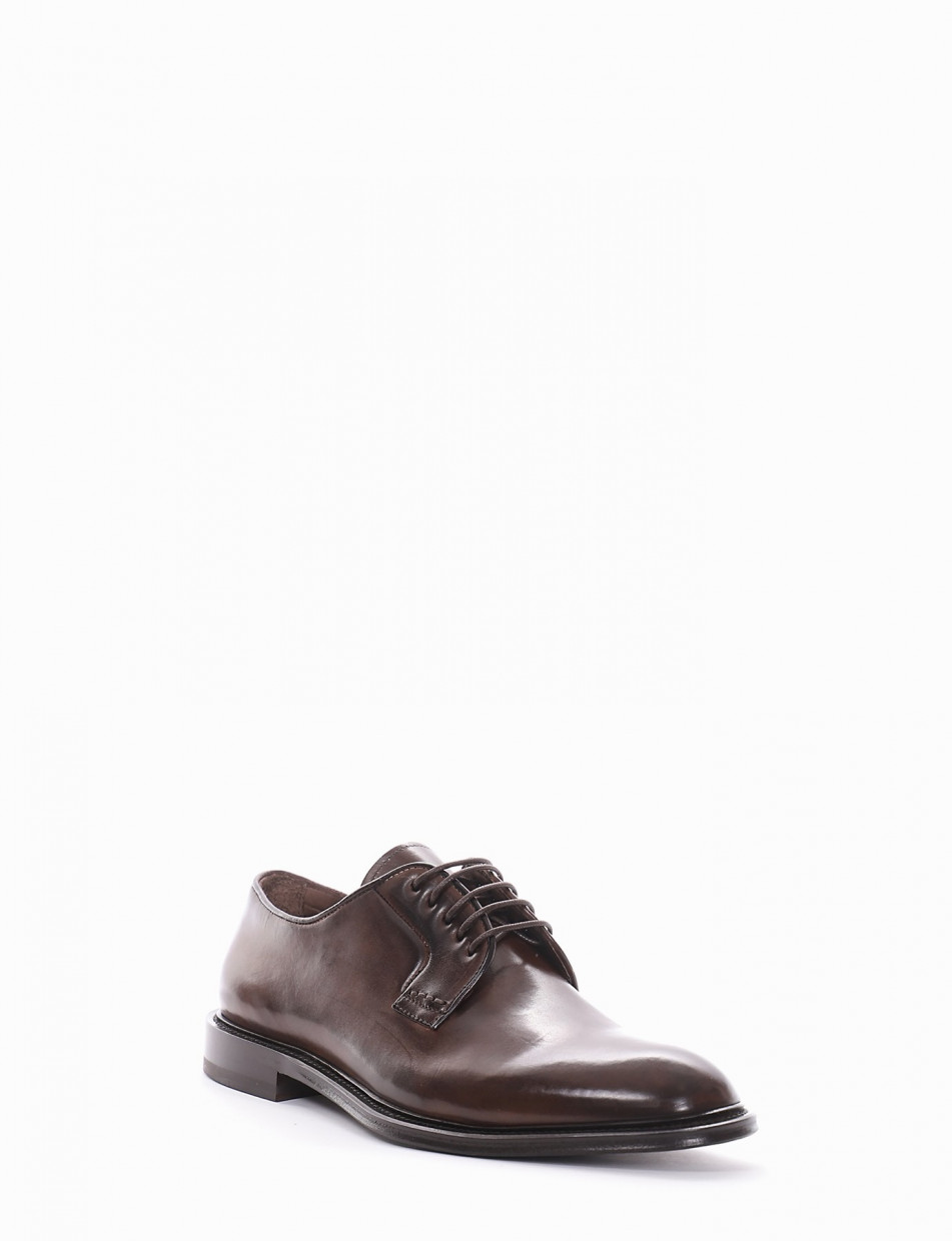 Lace-up shoes heel 1 cm dark brown leather