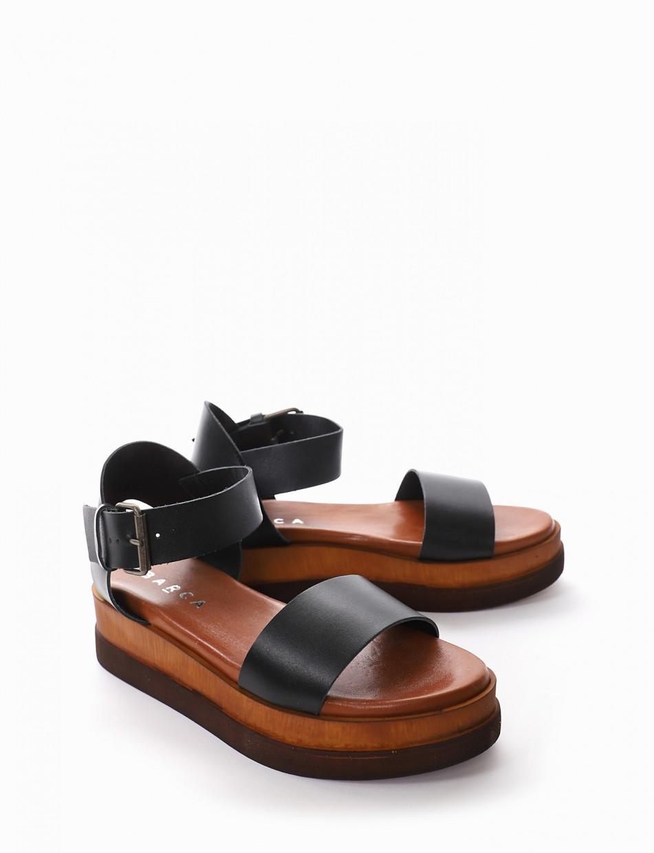 Low heel sandals heel 4 cm black leather