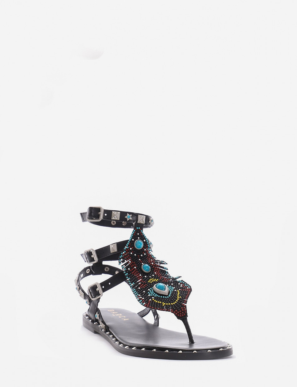 Flip flops heel 2 cm black leather