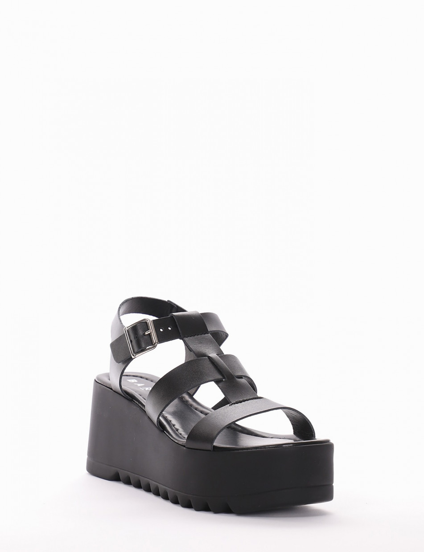 Sandalo zeppa 7 cm nero