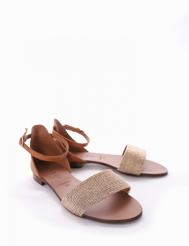 Low heel sandals heel 1 cm pink leather