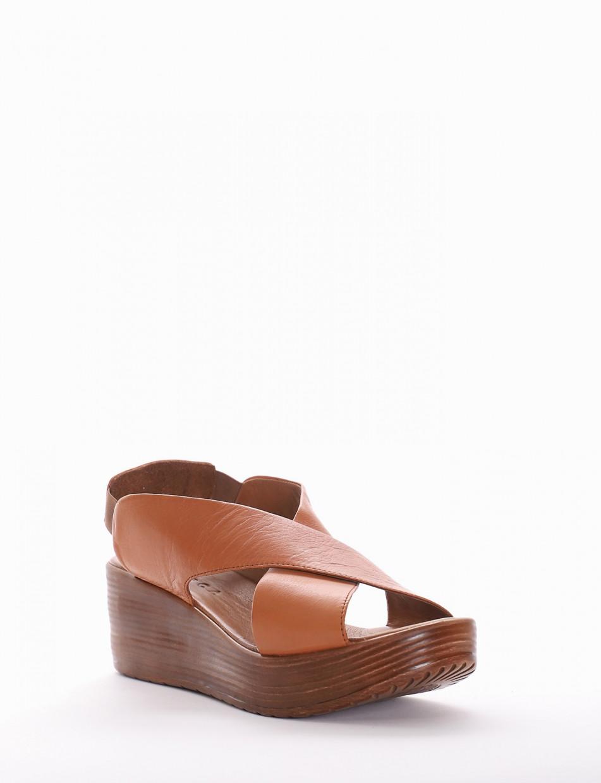 Sandalo tacco 6 cm cuoio