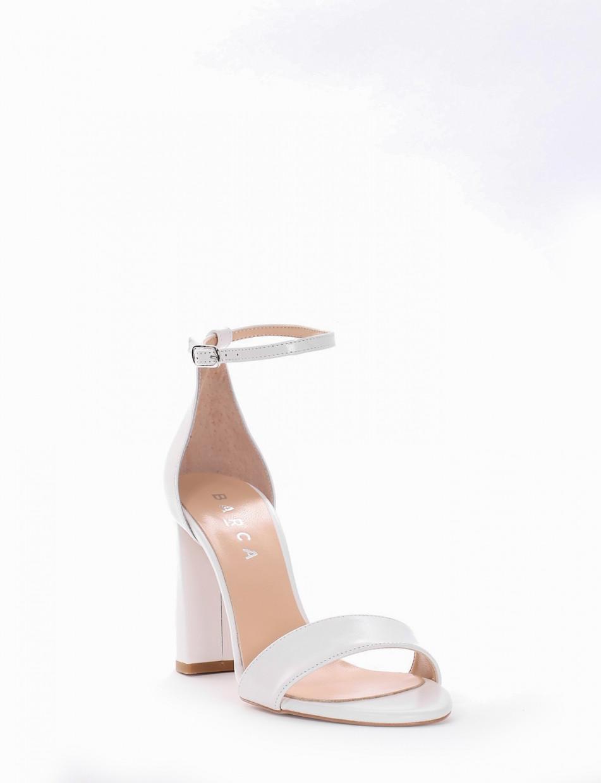 High heel sandals heel 10 cm white leather