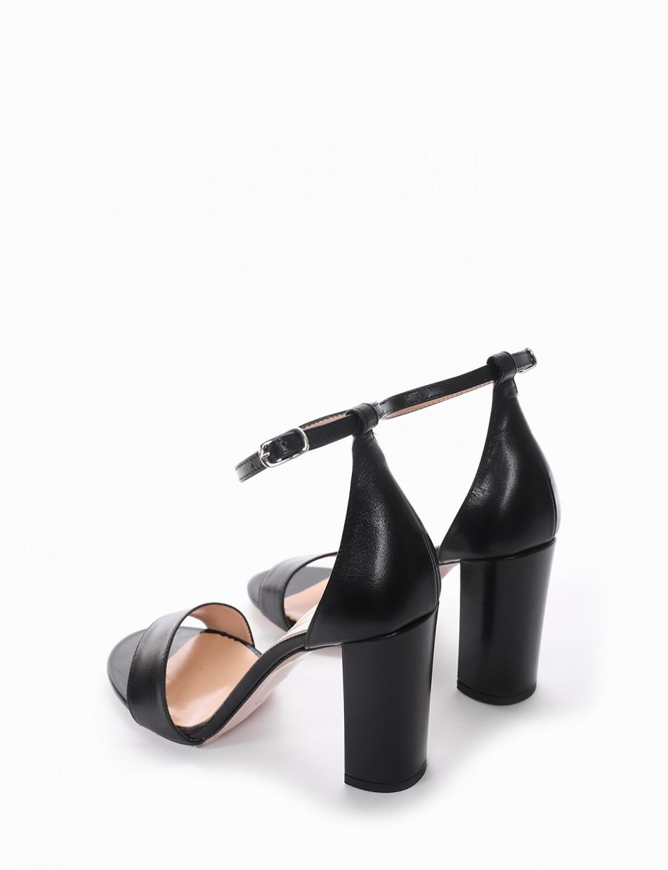 High heel sandals heel 10 cm black leather