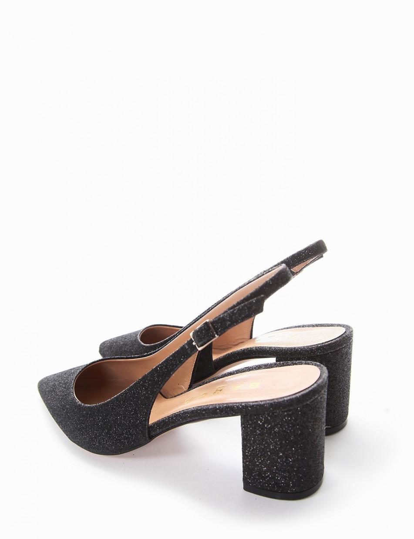 Pumps heel 7cm black glitter