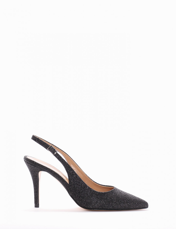 Pumps heel 8 cm black glitter