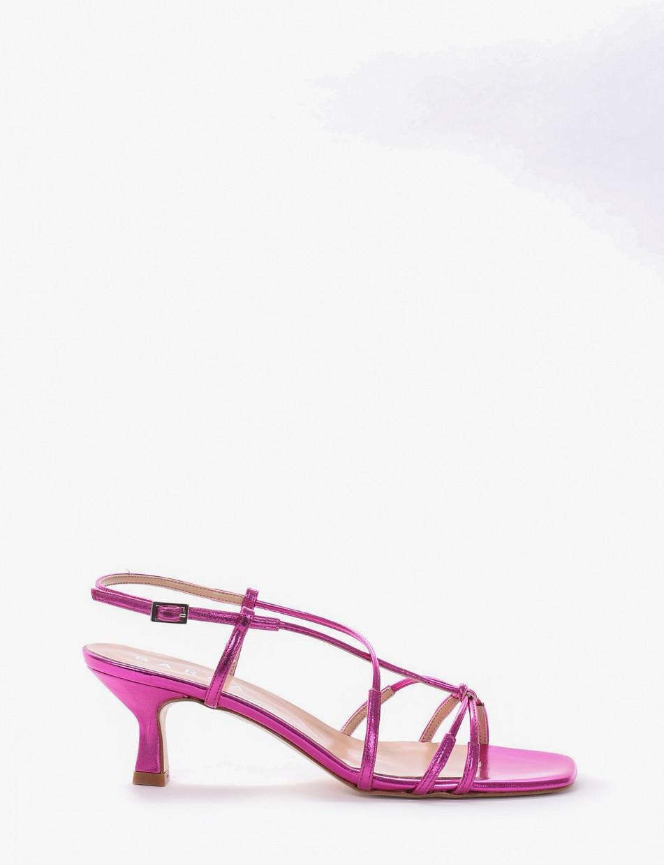 High heel sandals heel 5 cm pink laminated