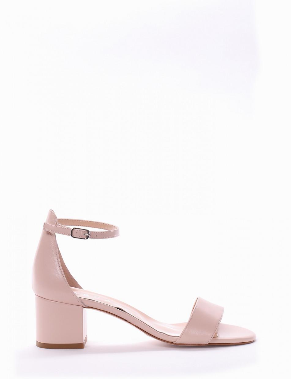 High heel sandals heel 5 cm pink leather