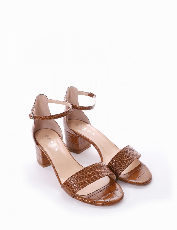Low heel sandals heel 5 cm leather cotto