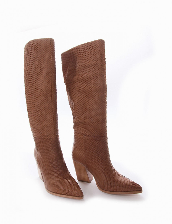 High heel boots heel 7 cm brown python