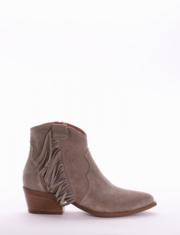 High heel ankle boots heel 5 cm beige chamois