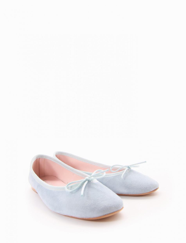 Flat shoes heel 1 cm light blue chamois