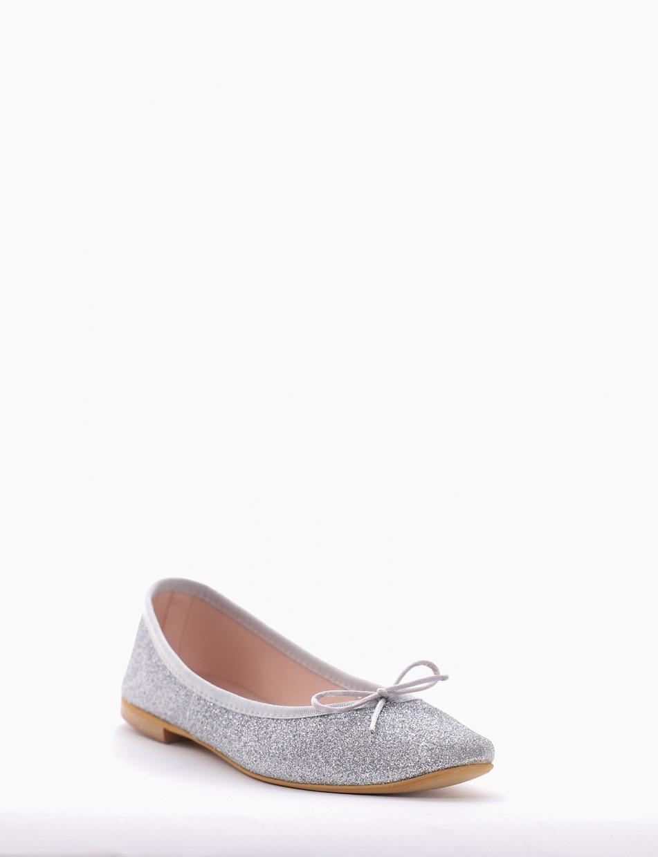 Flat shoes heel 1 cm silver glitter