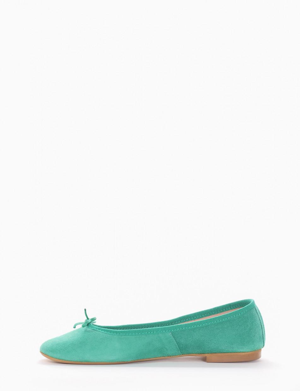 Flat shoes heel 1 cm green chamois