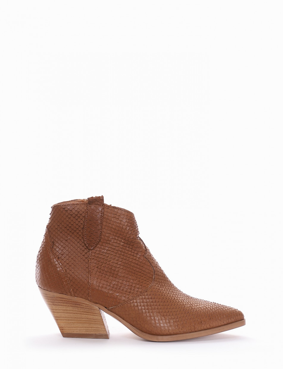 High heel ankle boots heel 6 cm leather pitone