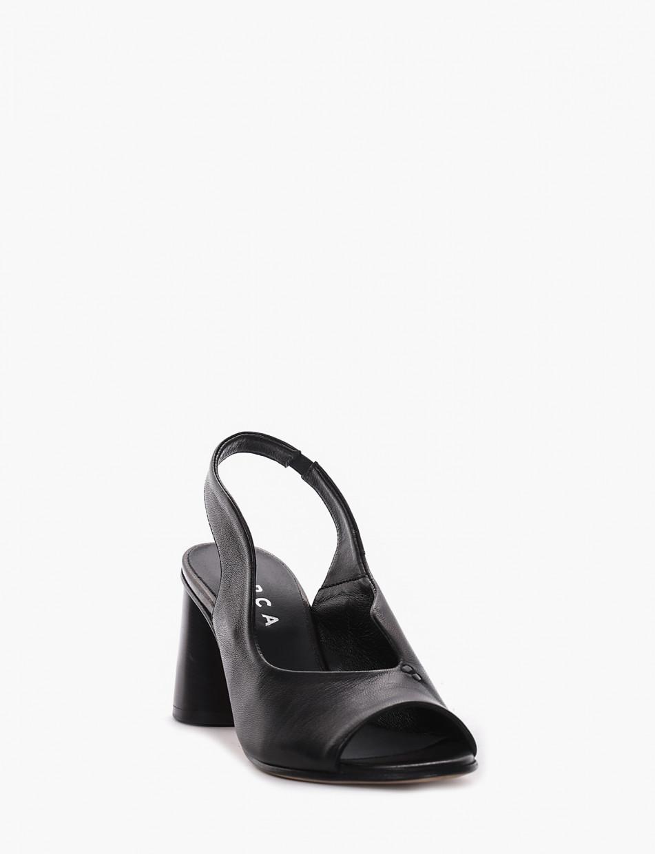 High heel sandals heel 8 cm black leather